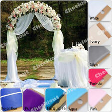 """90"""" WHITE METAL ARCH + 54""""x40 Yards TULLE Wedding Party Prom Floral Decoration"""