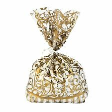 60 GOLD Swirl cellophane Loot BAGS Wedding Party supplies favors