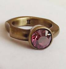 DYRBERG /KERN SIGNED DENMARK ANTIQUE BRASS PINK CRYSTAL RING s-II UK-O NEW