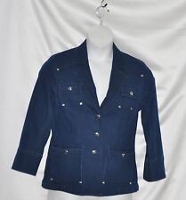 Linea by Louis Dell'Olio Denim Blazer with Button Detail Size S Dark Indigo