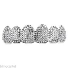 Micro Pave Grillz Iced-Out Teeth Top Upper Silver Tone Micropave Hip Hop Grill