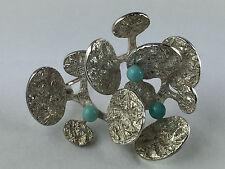 2373 Kordes & Lichtenfels Modernist Brosche echt Silber 835 mit Türkisen um 1960