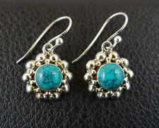 Turquoise in Sterling Silver 925 Drop Dangle Earrings Handcrafted from India 001