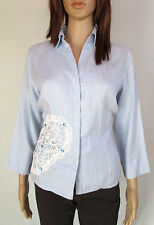 GLOBUS ESSENTIALS Womens Blue Crochet Lace Hand Embellish Linen Shirt sz 12 AM18