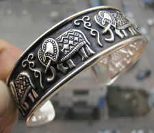 Fashion Tibetan Tibet silver Carved turtle Bangle Totem elephant Bracelet