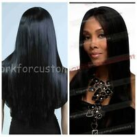 Hot Fashion New Women Black Long Straight Wig Dance Party Daily Wear Wig+Wig Cap
