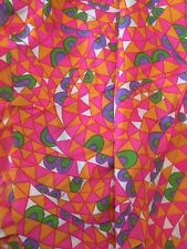 Vintage 60sPolyester Fabric 3.44 yds Hippie Mod Colorful Pink Orange Psychedelic