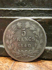ancienne monnaie piece 5 F francs argent 1840 W domard TB
