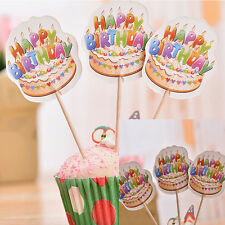 12 pcs Paper Cake Topper Happy Birthday Party Supplies Decorations jj