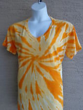 Women's Port and Company  Cotton S/S V Neck Tie Dyed Tee Shirt 3X Yellow
