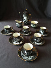 Locke Worcester pate sur pate full set teapot Tea Pot coffee,  6 Tea cup saucers
