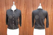 BCBG Black Cashmere Cardigan Polo Collar Button Down Pin-Up Cardi Sz M