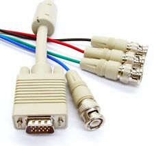 SVGA / VGA to 4 BNC Cable, HD15 Male to 4 x BNC Male, Video / Monitor Lead, 2M
