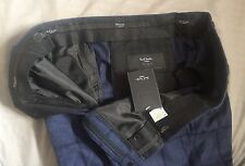 NWT Paul Smith Navy Blue Wool/Silk Windowpane Tailored Fit Pants Size 38 $555.00