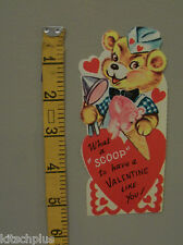 Vtg Valentine Card Ice Cream Cone Parlor Soda Fountain Teddy Bear Bow Tie UNUSED