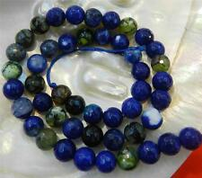 8mm Faceted Blue Multicolor Dragon Veins Agate Gems Round Loose Beads 15""