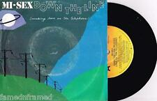 "MI-SEX - DOWN ON THE LINE - 7"" 45 VINYL RECORD w PICT SLV - 1982"