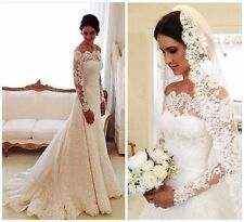 White/Ivory Wedding Dresses Lace Appliqued Long Sleeve Off Shoulder Bridal Gown