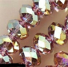 70PC Purple Multicolor Swarovski Crystal Faceted Gems Loose Beads 6X8mm