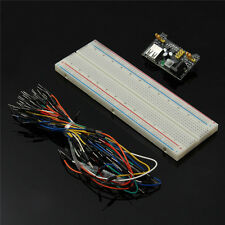 MB102 Power Supply Module 3.3V 5V+Breadboard Board 830 Point+65PCS Jumper cables