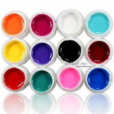 12 Pcs Mix Pure Solid Color UV Builder Gel Set for Nail Art False French Tips