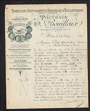 """MACON (71) USINE d'INSTRUMENTS AGRICOLES """"POITEVIN / T. BOUILLOUX Succ"""" en 1895"""