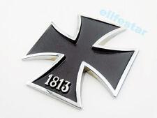 Motorcycle Car Truck Emblem Badge Metal Cross 1813 Black Decal Sticker Fuel Tank