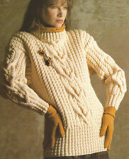 "Ladies Aran Sweater Knitting Pattern Interlace Cables Jumper 30-44""  629"