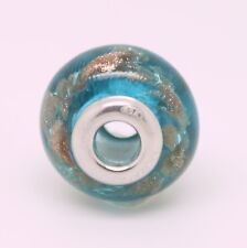 Blue with Gold Flecks Murano Glass Sterling Silver 925 Bead Charm