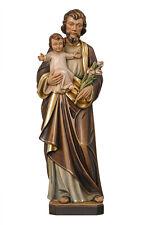 Statua San Giuseppe con bambino cm. 30 - In legno scolpita a mano (mod. 1)