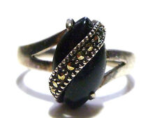 "SIZE 9.25 DESIGNER ""AN"" WOMENS STERLING SILVER ONYX & MARCASITE RING"