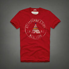NEW Mens %ABERCROMBIE FITCH% Red White Indian Tent Logo Vintage T-Shirt Sz.L