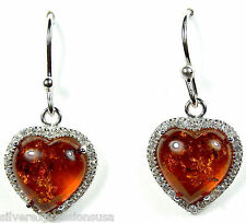 Genuine 10mm Baltic Amber & White Topaz 925 Sterling Silver Heart Earrings