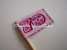 20 CUPCAKE FLAGS/TOPPERS - 70TH BIRTHDAY