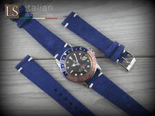 Cinturino in Pelle Scamosciata LS VINTAGE SUEDE 20 mm Watch Strap Band Blu