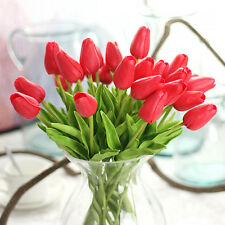 Silk Artifical Real Touch PU Tulips Flower Single Stem Bouquet Room Home Decor