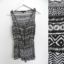 Forever 21 size SMALL black and white tribal grunge print romper