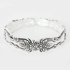 Spoon Stretch Bracelet Vine Design Handle Flower Metal SILVER Filigree Jewelry