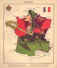 Francia Vintage Antiguo Viejo Color Reproducción Francés Mapa Geográfico