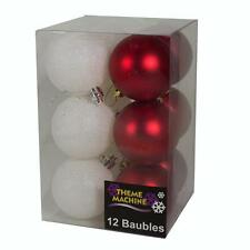 Christmas Tree Decoration 12 Pack 60mm Glitter / Plain Baubles - Red & White