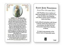 SAINT JUDE - LAMINATED PRAYER CARD - CROSSES STATUES CANDLES PICTURES LISTED