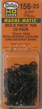Kadee HO Scale # 156-25 Magne-Matic Scale Head Couplers Long Shank 25 Pair