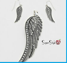 "Crystal Accented Angel Wings Pendant Necklace Earrings + 23"" Chain Long Dangle"