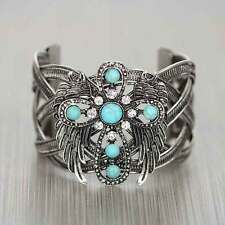 TURQUOISE ANGEL WINGS RHINESTONE CROSS WESTERN JEWELRY CUFF WOVEN BRACELET 115