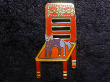 "Laurel Burch 22k Gold-Plate Enameled ""BASSO GOES TO THE CHAIR HOUSE"" Pin /Brooch"