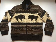 NEW Polo Ralph Lauren Buffalo Cowichan Hand Knit Shawl Cardigan- $595-MENS- L