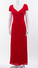 EMPORIO ARMANI Red Silk Satin Cap Sleeve Maxi Formal Long Cocktail Dress 40/4