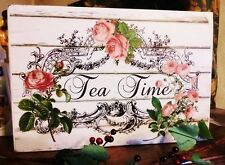 Vintage Wooden Sign Tea Time Cottage Sign Chic and Shabby Pink Roses