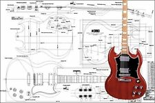 Gibson SG Electric Guitar Full-Scale Plan