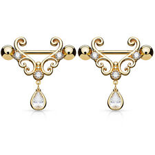 Pair of CZ Tear Drop Dangle Heart 14K Gold Plated Nipple Rings Barbell 14g 9/16""